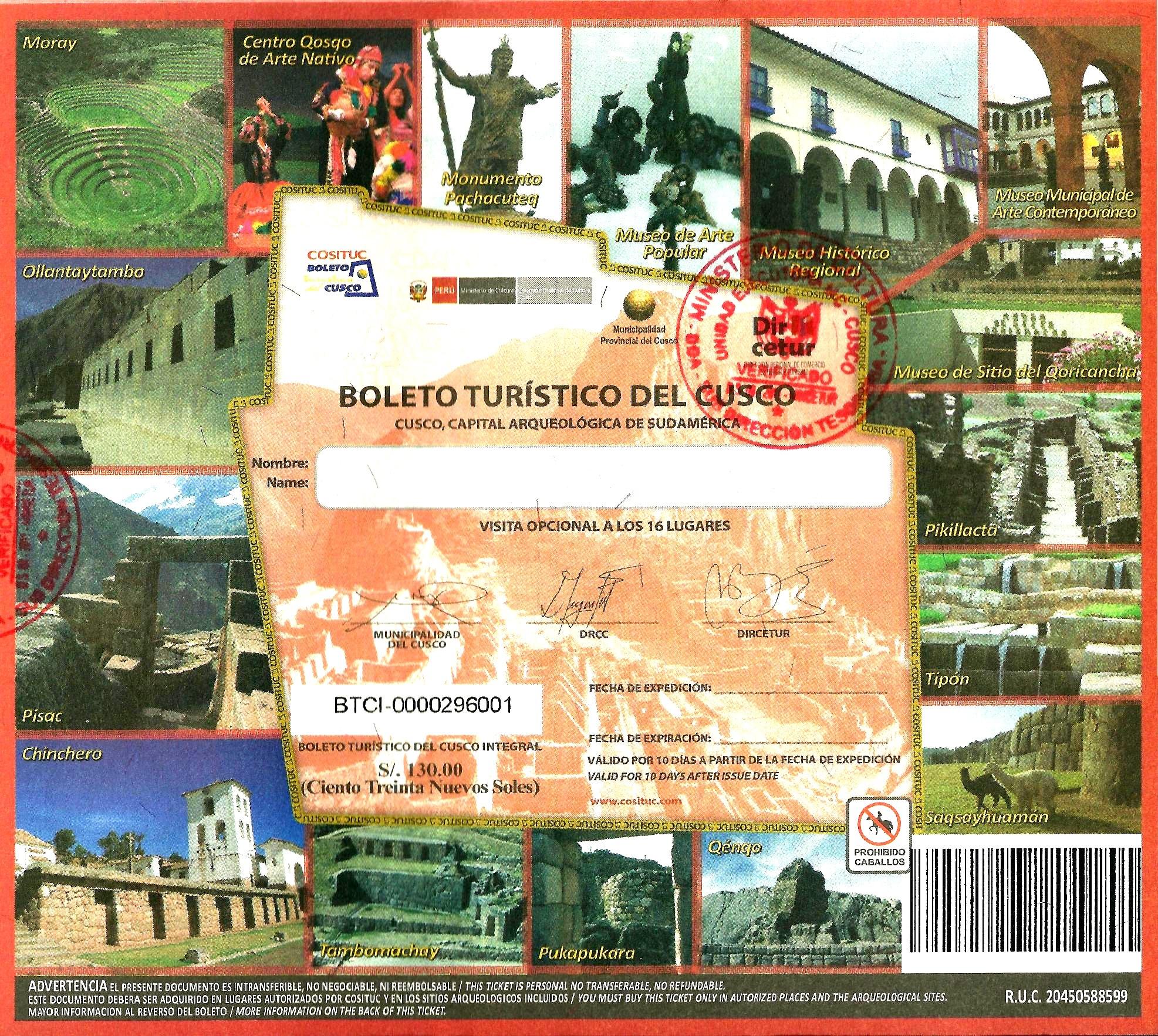 boleto turistico de Cusco