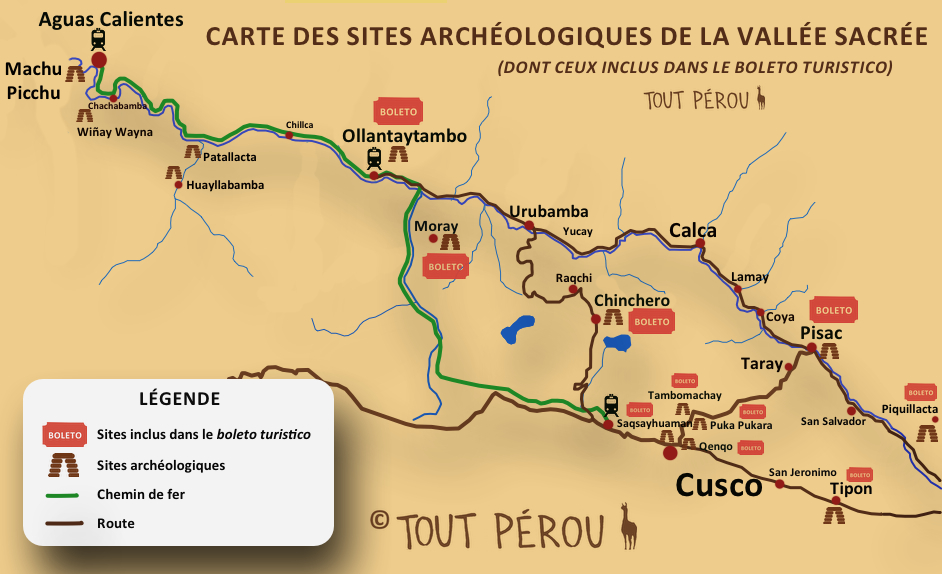 Carte de la vallée sacrée au Pérou